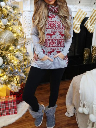 Grey-Red Animal Elk Print Pockets Cowl Neck Christmas Casual Pullover Sweater