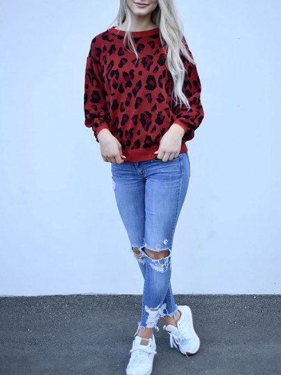 Red Leopard Print Round Neck Long Sleeve Casual Pullover Sweater