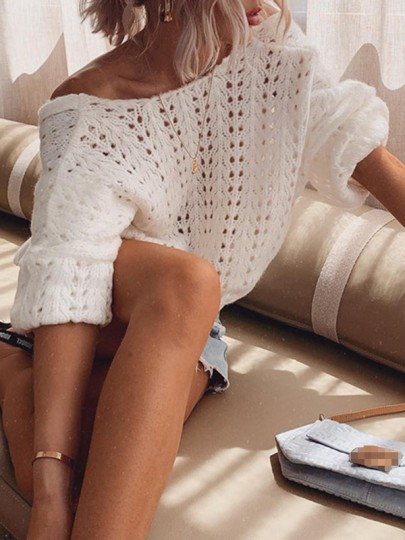 White Cut Out Backless Bodycon Comfy Bodycon Ttrendy Fashion Sweater