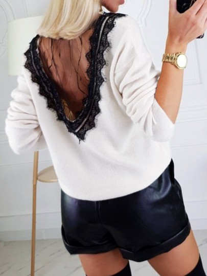 White Patchwork Lace V-neck Long Sleeve Fashion Pullover Sweater