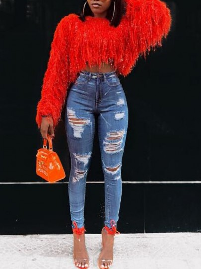 Red Patchwork Sequin Tassel Knit Fuzzy Sparkly Crop NYE Party Pullover Sweater