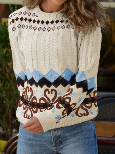 Apricot Geometric Round Neck Long Sleeve Oversize Pullover Fashion Sweater