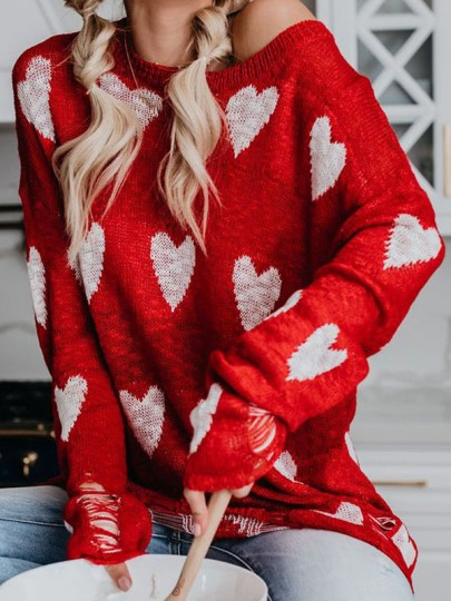 Red Love Heart Print Round Neck Long Sleeve Cute Thanksgiving Valentine's Day Pullover Sweater