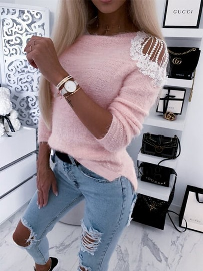 Pink Patchwork Lace Cut Out Bodycon Comfy Going out Sweater