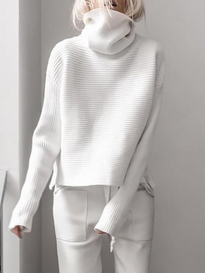 White High Neck Long Sleeve Slit Oversize Fashion Pullover Sweater