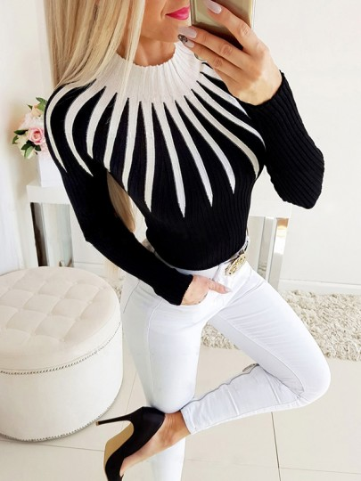 Black Geometric Pattern Bodycon Round Neck Going out Sweater