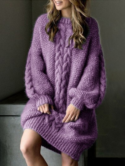 Purple Patchwork Print Oversize Round Neck Puff Sleeve Fashion Pullover Sweater