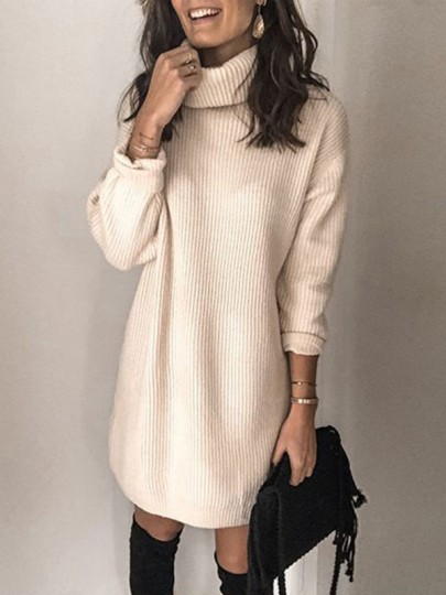 White Patchwork Print Oversize High Neck Long Sleeve Fashion Pullover Sweater