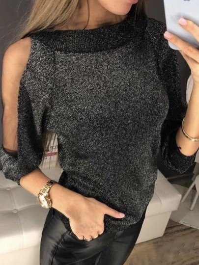 Black Patchwork Grenadine Bright Wire Long Sleeve Fashion Pullover Sweater