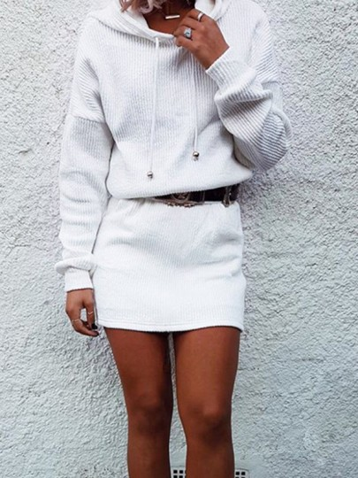 White Drawstring Long Sleeve Oversize Hooded Fashion Sweatshirt
