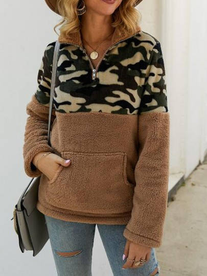 Brown Patchwork Camouflage Pattern Pockets Teddy Fuzzy Band Collar Pullover Sweater