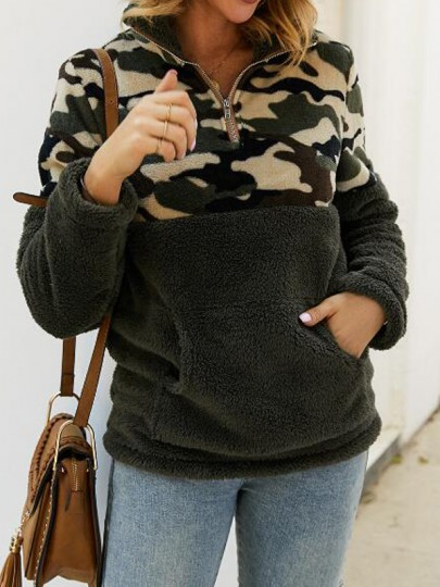 Army Green Patchwork Camouflage Pattern Pockets Teddy Fuzzy Band Collar Pullover Sweater