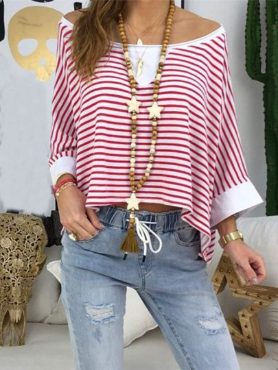 Red Striped Draped Scoop Neck Long Sleeve Oversized T-Shirt