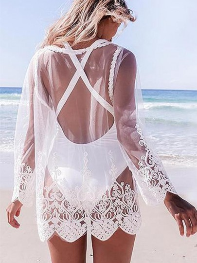 White Patchwork Grenadine Lace Scoop Neck Long Sleeve Beachwear T-Shirt