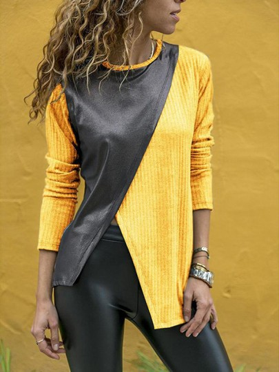 Yellow Irregular Slit Bodycon Round Neck Long Sleeve Going out T-Shirt
