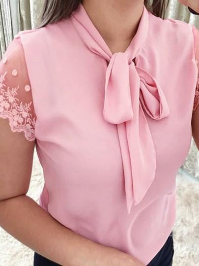 Pink Patchwork Lace Bow Short Sleeve Sweet T-Shirt