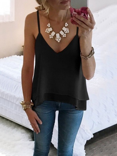 Black Irregular Spaghetti Strap V-neck Fashion Chiffon Vest