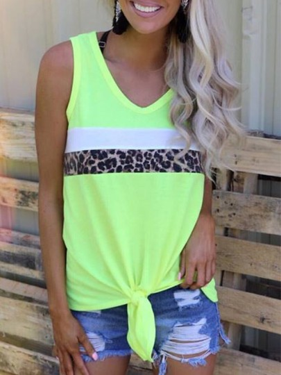Green Leopard Irregular Knot V-neck Fashion Vest