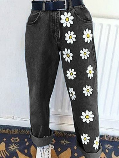 Black Daisy Pattern Zipper High Waist Baggy Boyfriend Jeans