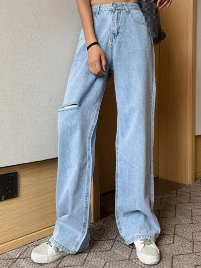 Blue Pockets Distressed Wide Leg Pants Baggy High Waisted Fashion Long Jeans