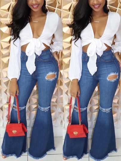 Blue Pockets Ripped Distressed Denim Flare Bell Bottom High Waisted Casual Long Jeans