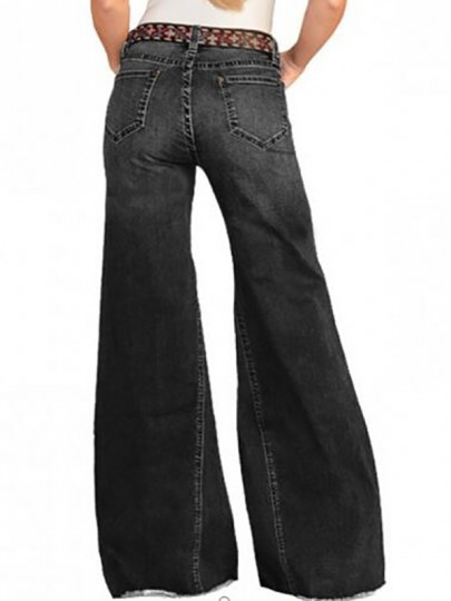 Black Pockets Buttons High Waisted Wide Leg Palazzo Distressed Vintage Long Jeans
