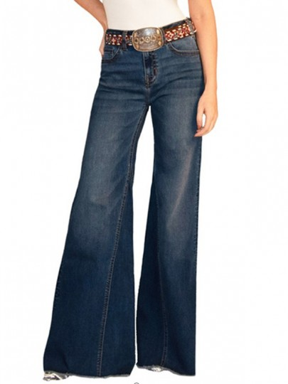 Dark Blue Pockets Buttons High Waisted Wide Leg Palazzo Distressed Vintage Long Jeans