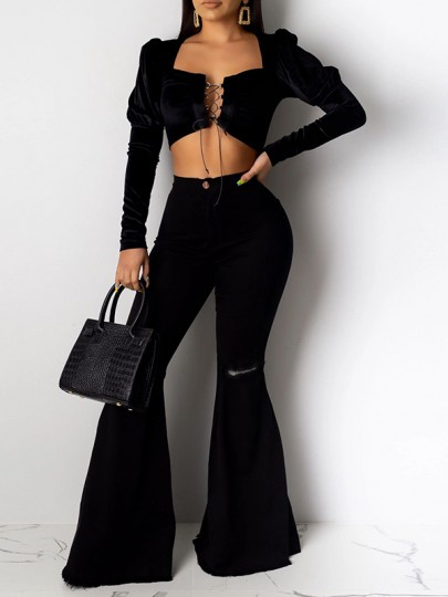 Black Buttons High Waisted Knee Ripped Flare Bell Bottom Long Jeans