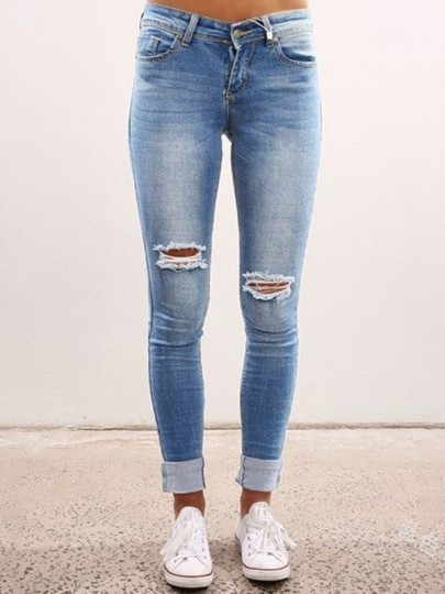 Blue Pocket Ripped Destroyed High Waisted Vintage Long Jean Pants