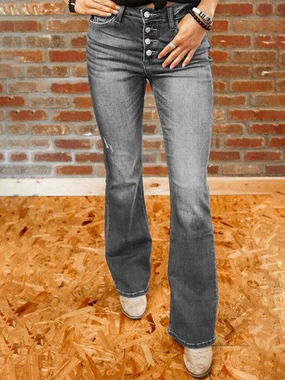 Grey Pockets Single Breasted High Waisted Flare Bell Bottom Bootcut Long Jeans