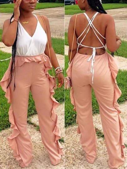 White-Pink Patchwork Ruffle Cross Back High Waisted Elegant Party Wide Leg Long Jumpsuit
