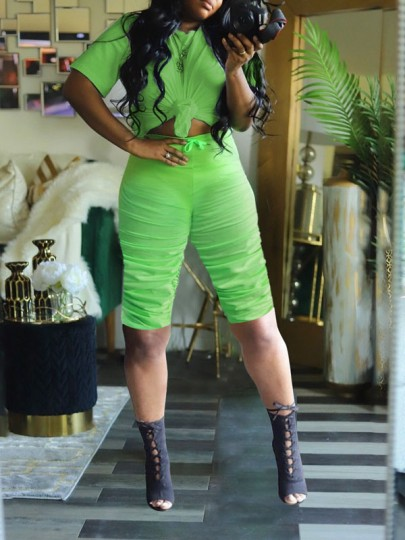 Green Pleated Drawstring Two Piece Round Neck Short Sleeve Scrunch Casual Sports High Waisted Short Jumpsuit