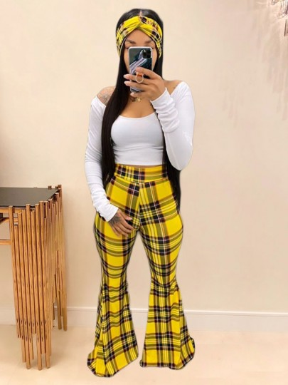 Yellow Plaid Off Shoulder Two Piece Party High Waisted Bell Bottomed Flares Long Jumpsuit