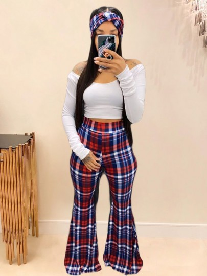 Red Plaid Off Shoulder Two Piece Party High Waisted Bell Bottomed Flares Long Jumpsuit