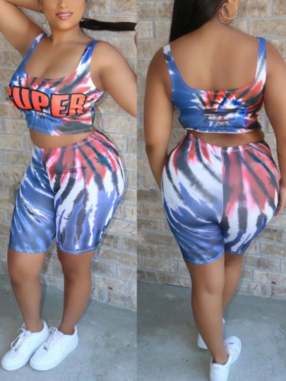 "Blue ""SUPER"" Print Tie Dyeing Spaghetti Strap Two Piece Casual Sports Party High Waisted Short Jumpsuit"