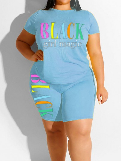 """Light Blue """"BLACK GIRL MAGIE"""" Print Two Piece Plus Size Bodycon Casual High Waisted Short Jumpsuit"""