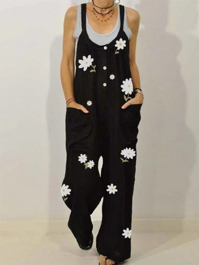 Black Flowers Pockets Single Breasted Fashion Overall Pants Long Jumpsuit