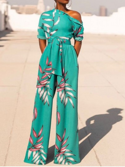 Sky Blue Floral Print One Off Shoulder Belt Pockets Bohemian Beach Party High Waisted Wide Leg Palazzo Long Jumpsuit