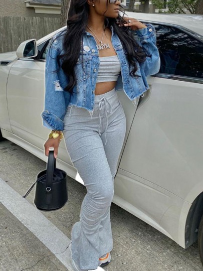 Grey Off Shoulder Drawstring Pleated Two Piece Stacked Scrunch High Waisted Casual Sports Long Jumpsuit