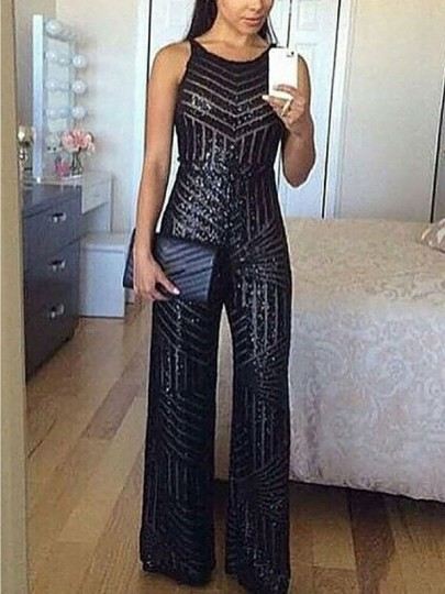 Black Patchwork Sequin Sparkly Glitter Birthday Party Wide Leg Palazzo Long Jumpsuit