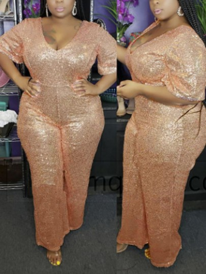 Apricot Patchwork Sequin V-neck Plus Size Sparkly Glitter Birthday Party Wide Leg Palazzo Long Jumpsuit