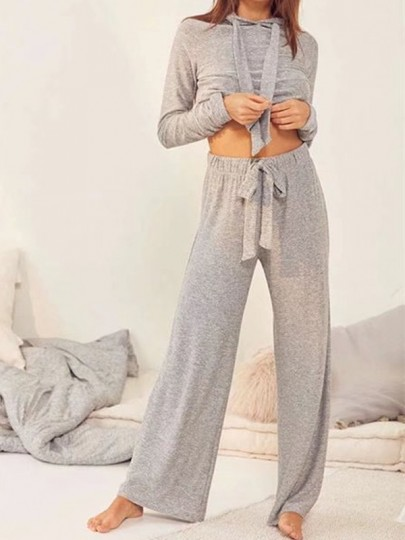 Light Grey Patchwork Drawstring Two Piece Elegant Long Jumpsuit