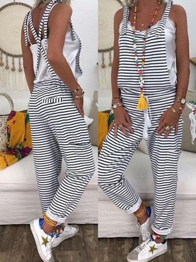 Black Striped Print Drawstring High Waisted Fashion Overall Long Jumpsuit