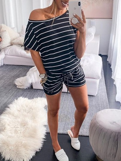 Black White Striped Pockets Drawstring High Waisted Cozy Casual Short Lounge Set