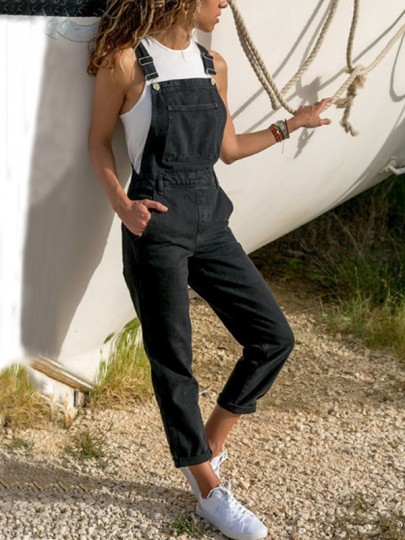 Black Pockets High Waisted Casual Jeans Overall Suspender Pants Long Jumpsuit