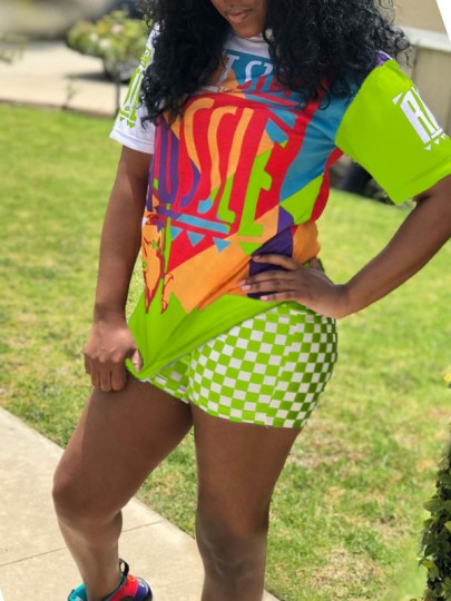 """Neon Green """"HUSSLE"""" Print Round Neck Short Sleeve 2-in-1 High Waisted Plaid Sports Caaual Short Jumpsuit"""