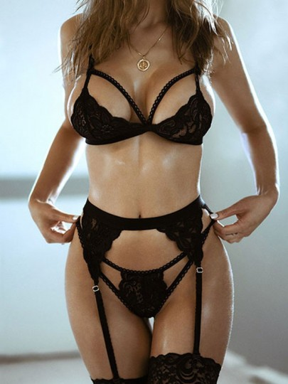 Black Lace Bow Spaghetti Strap Backless Fashion Short Jumpsuit Lingerie