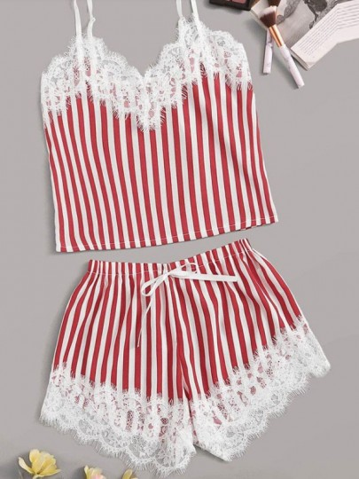 Red White Striped Lace Spaghetti Strap Backless Short Jumpsuit Sleepsuit Pajamas