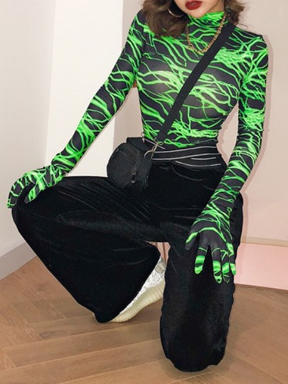 Green Flash Print Band Collar Long Sleeve Halloween Costume Short Jumpsuit With Gloves