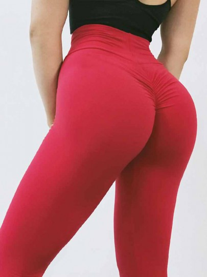Red Pleated High Waisted Skinny Fashion Long Legging